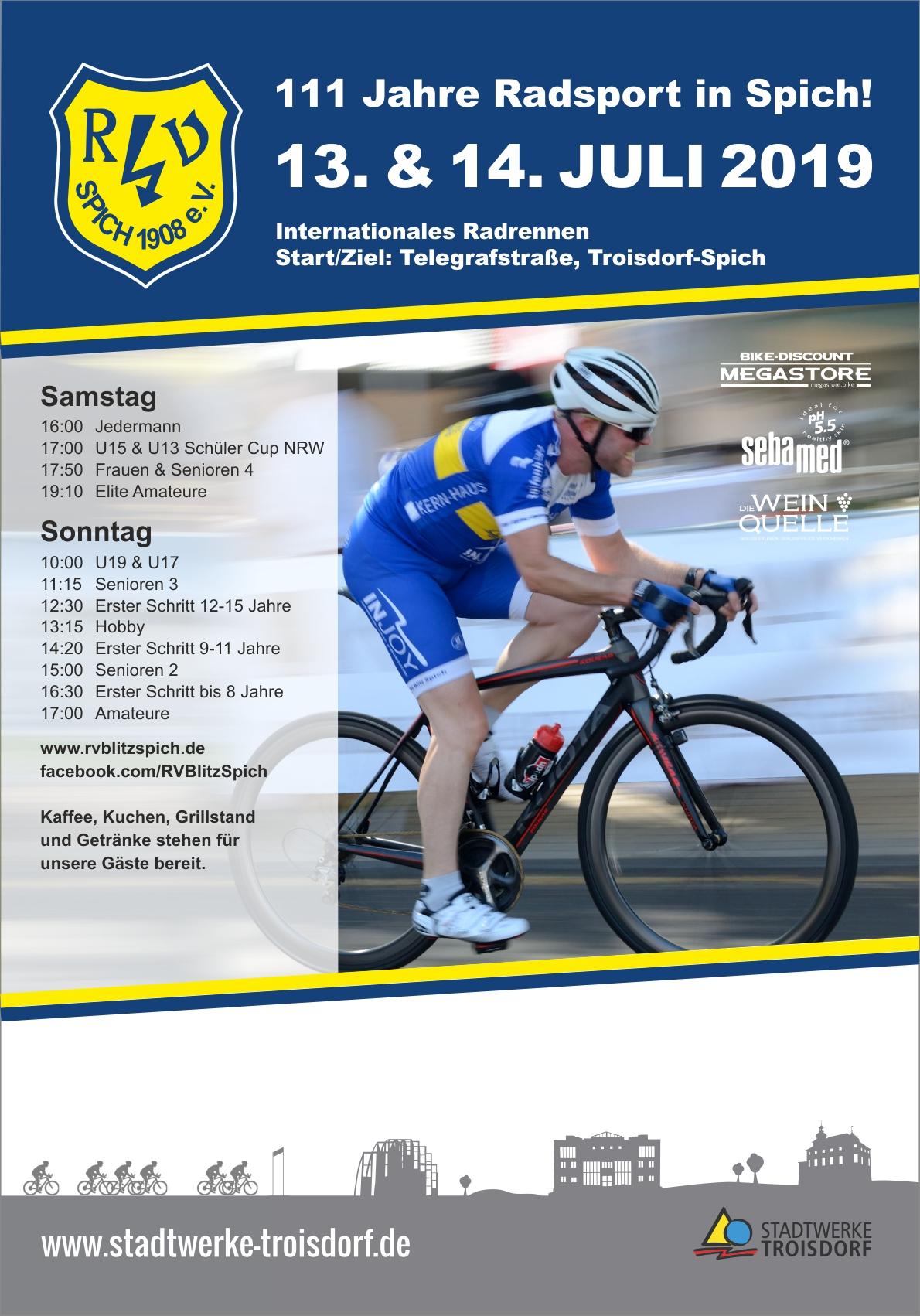 """Radrennen """"Rund in Spich 2019"""" 1. Tag"""